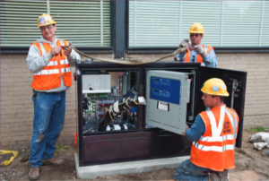 Installation of S&C Remote Supervisory Vista Underground Distribution Switchgear for High-Speed Fault-Clearing System.